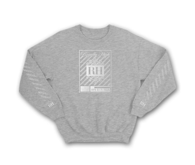 Iconic heather grey streetwear sweatshirt with silver rh crown design