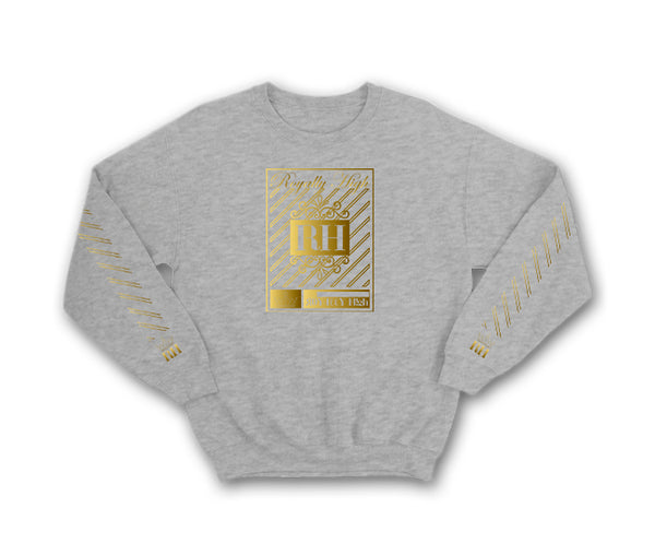Iconic heather grey streetwear sweatshirt with gold rh crown design