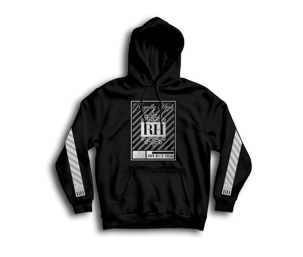 Iconic Black streetwear hoodie with silver rh crown design