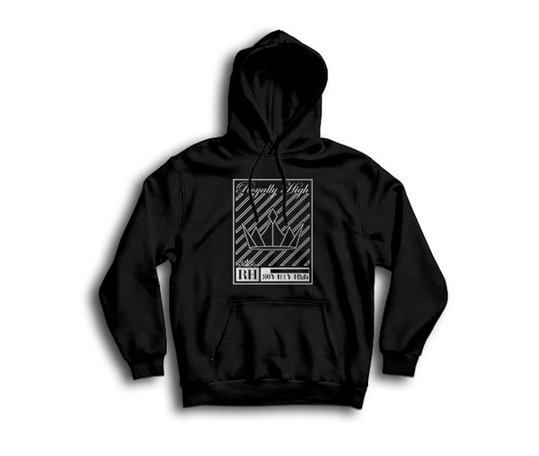 Black streetwear hoodie with silver crown design