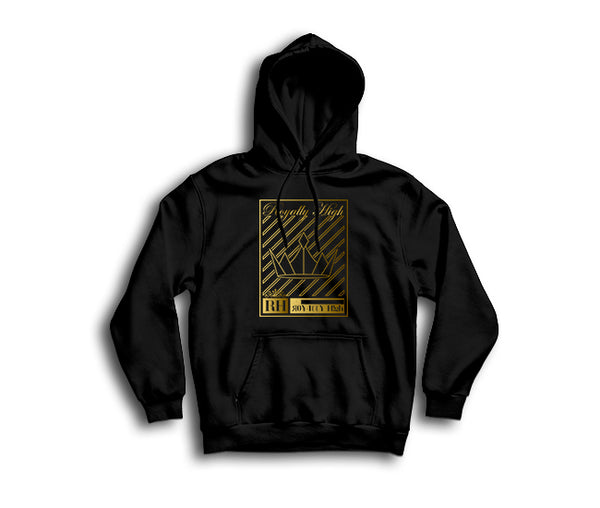 Black streetwear hoodie with gold crown design