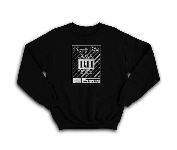 Black streetwear sweatshirt with silver rh crown design