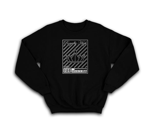 Black streetwear sweatshirt with silver crown design