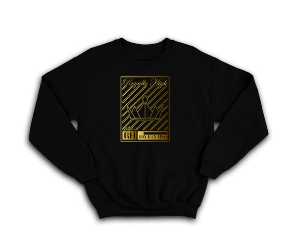 Black streetwear sweatshirt with gold crown design