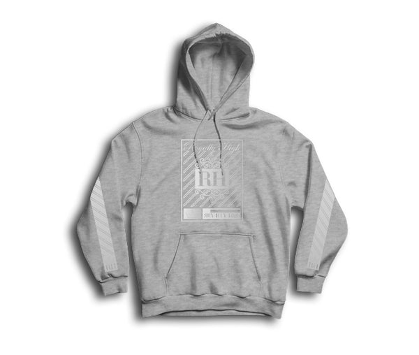 Iconic heather grey streetwear hoodie with silver rh crown design