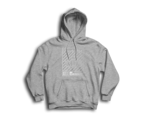 heather grey streetwear hoodie with silver crown design