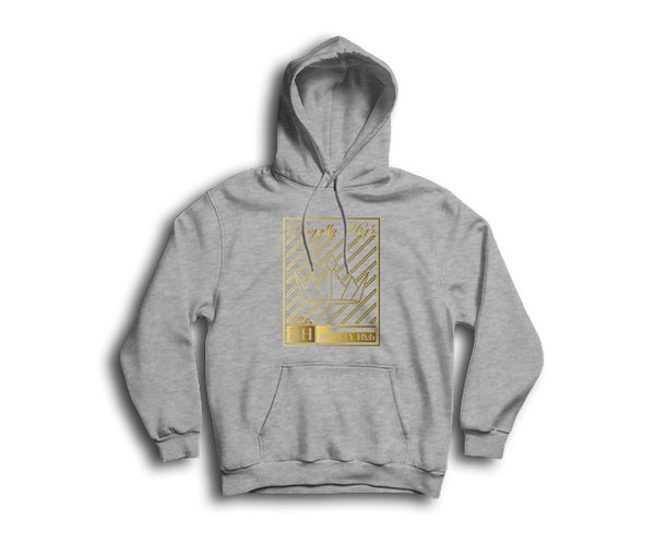 Heather Grey streetwear hoodie with gold crown design