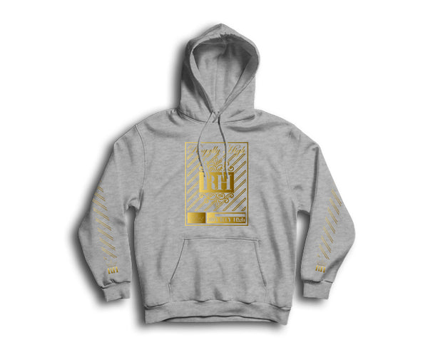 Iconic heather grey streetwear hoodie with gold rh crown design