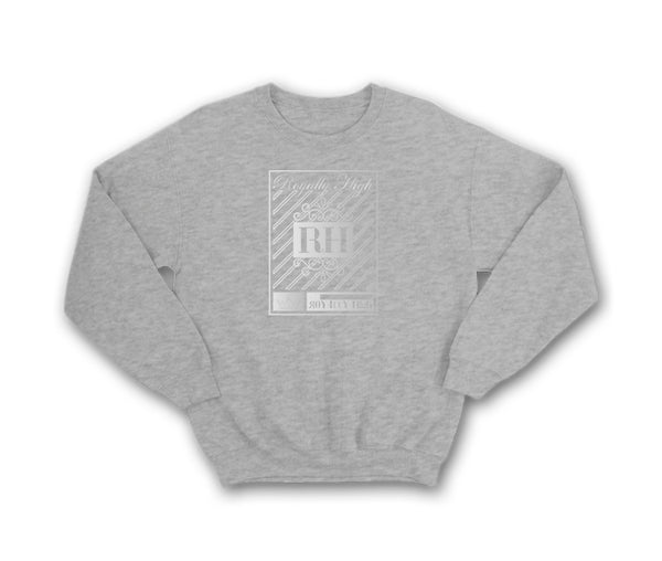heather grey streetwear sweatshirt with silver rh crown design