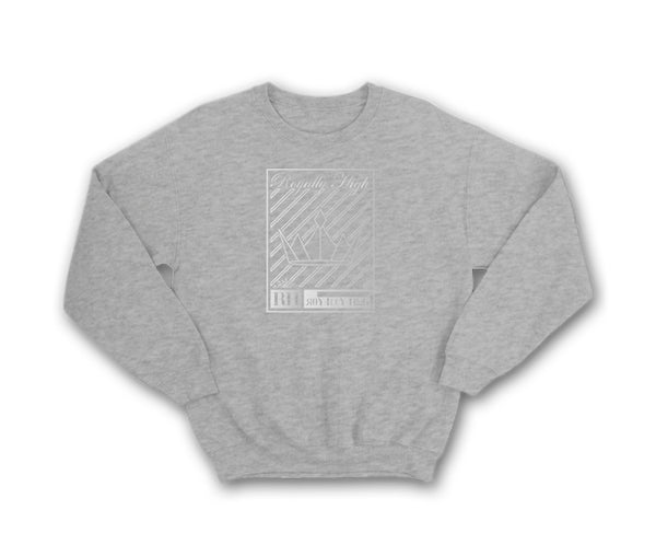 Heather Grey streetwear sweatshirt with silver crown design