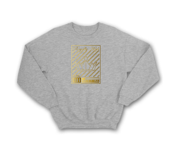Heather Grey streetwear sweatshirt with gold crown design