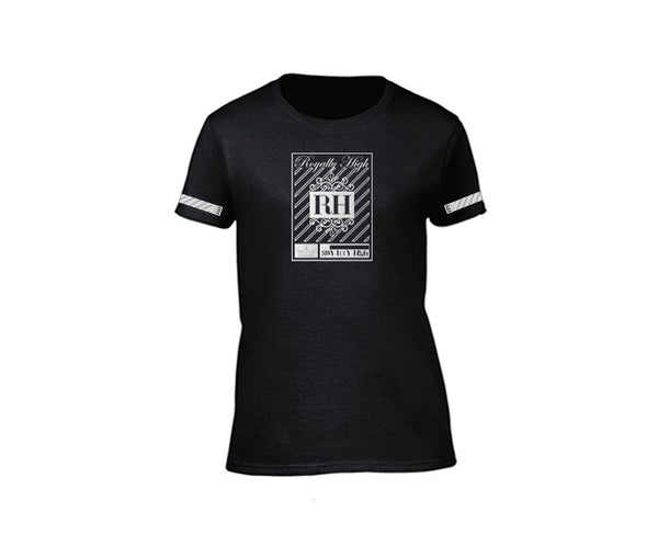 Black streetwear T-shirt with silver rh crown design for ladies
