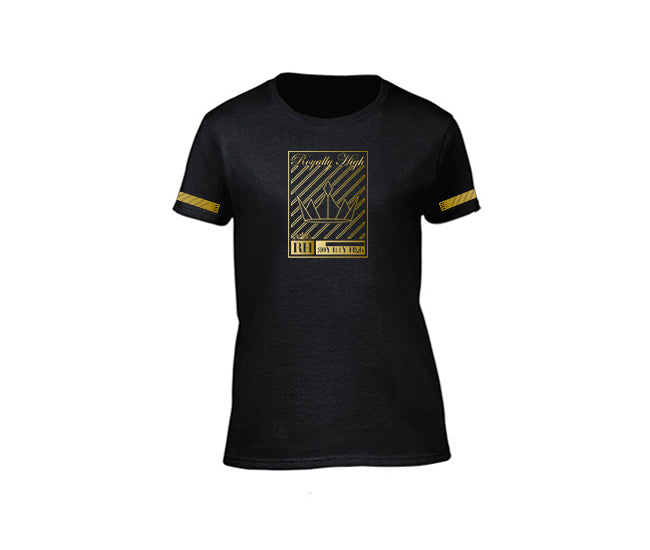 Black streetwear T-shirt with gold crown design for ladies