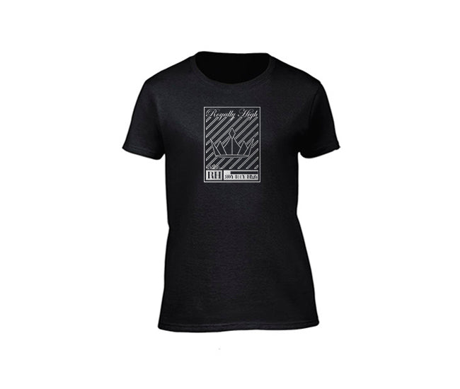 Black streetwear T-shirt with silver crown design for ladies