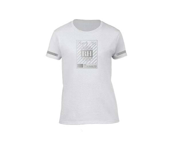 White streetwear T-shirt with silver rh crown design for ladies