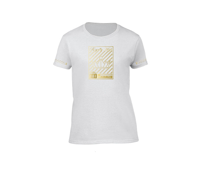 White streetwear T-shirt with gold crown design for ladies