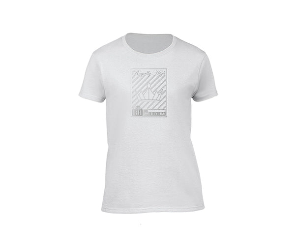 White streetwear T-shirt with silver crown design for ladies