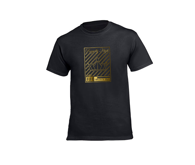 Mens Black streetwear T-shirt with gold crown design