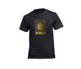 Black streetwear T-shirt with gold rh crown design for men