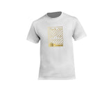 Mens white streetwear T-shirt with gold crown design