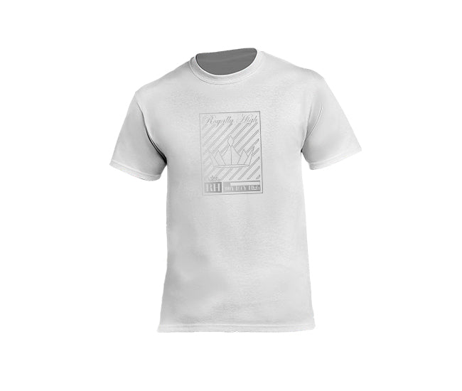 Mens white streetwear T-shirt with silver crown design