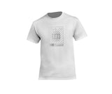 White streetwear T-shirt with silver rh crown design for men