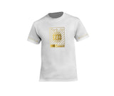 White streetwear T-shirt with gold rh crown design for men