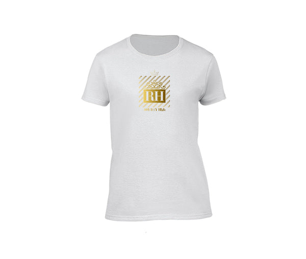 White streetwear T-shirt with gold rh design for ladies