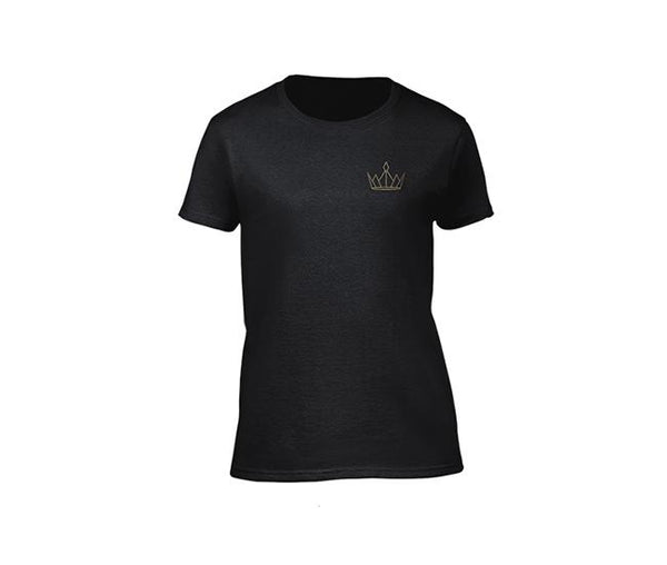 casual black t-shirt for ladies with gold crown