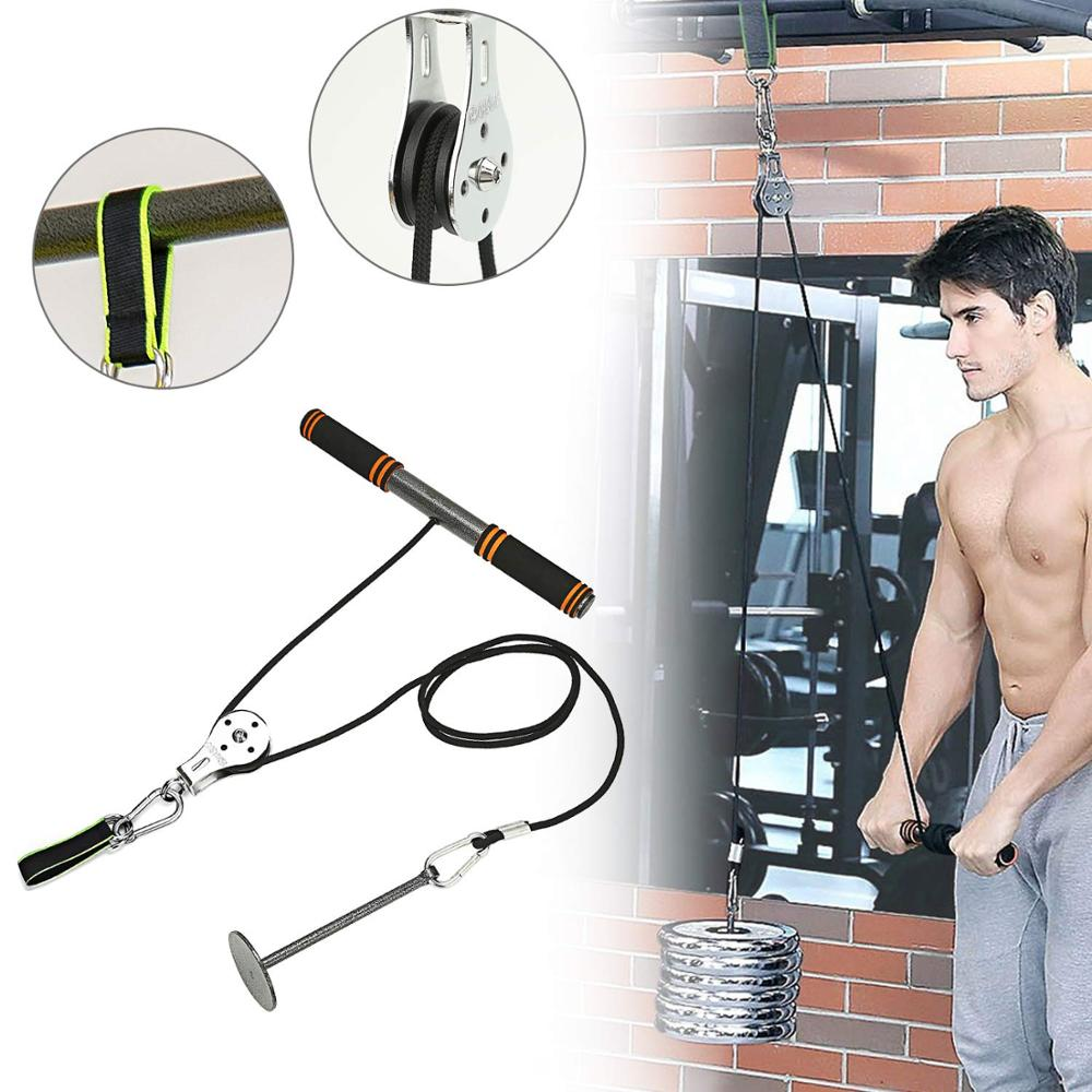 Fitness Arm Blaster Trainer with Pulley Attachments Triceps Workout Weight Lifting Home Gym Forearm Wrist Roller Accessories