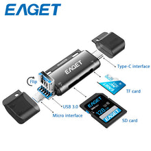 Load image into Gallery viewer, EAGET EZ08 Card Reader USB 3.0 Type C to SD Micro SD TF Adapter for laptop Accessories OTG Cardreader Smart Memory SD