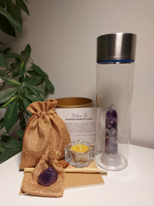 Crystal Water Bottle - Amethyst and Rock Gift Box