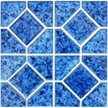 "Crystal Blue 6"" x 6"" Akron Porcelain Waterline Pool Tile"