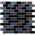 "Nero Blend Black Iridescent 1"" x 2"" Glass Tile"