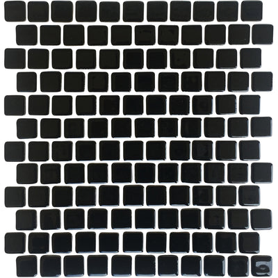 Black Glazed 1x1 Porcelain Pool Tile