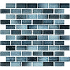 "Aqua Blue 1"" x 2"" Glossy Porcelain Waterline Pool Tile"