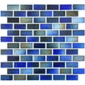 "Autumn Blue 1"" x 2"" Glossy Porcelain Waterline Pool Tile"