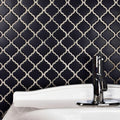 Lantern Matte Black Arabesque Porcelain Mosaic Tile