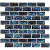 "Blue Blend 1"" x 2"" Glossy Porcelain Waterline Pool Tile"