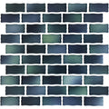 "North Sea Blue 1"" x 2"" Glossy Porcelain Waterline Pool Tile"
