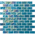 "Aqua Marine Iridescent 1"" x 2"" Glass Tile"