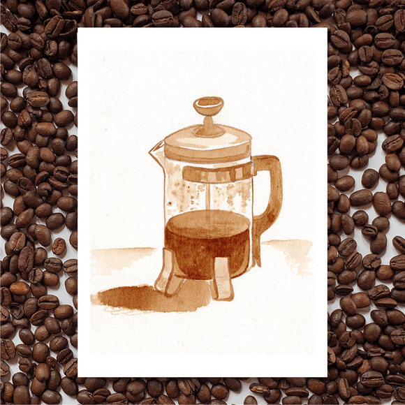 'French Press' Coffee Art Painting
