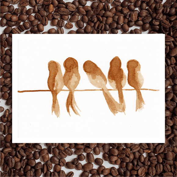 'Birds Of A Feather' Coffee Art Painting