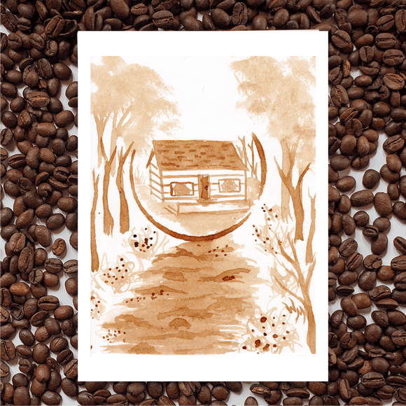 'Cabin' Coffee Art Painting