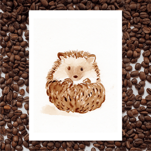 'Hedgehog' Coffee Art Painting