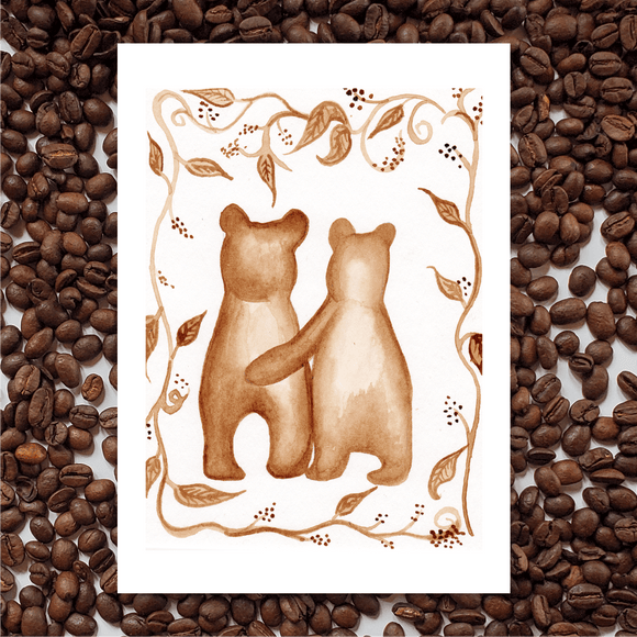 'Love Bears' Coffee Art Painting