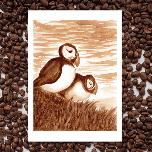 'Newfoundland Puffins' Coffee Art Painting