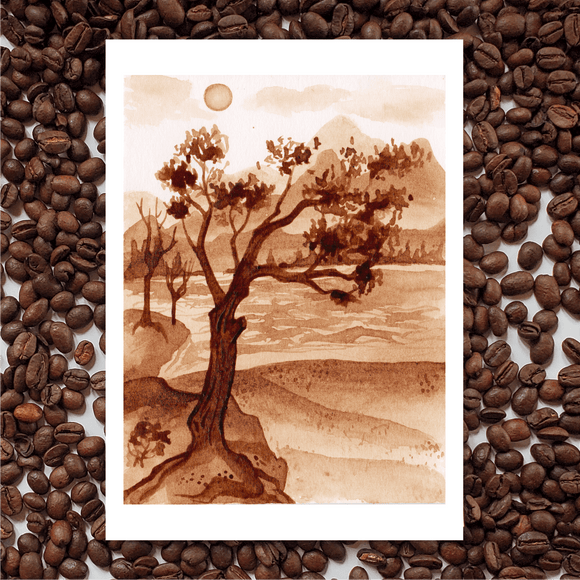 'Lake Of Shining Waters' Coffee Art Painting