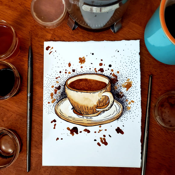 'Splendid Brew' Coffee Art Painting