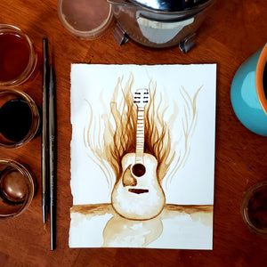 'Forgotten Guitar' Coffee Art Painting